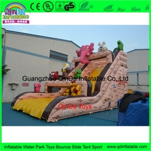 Commercial pvc tarpaulin kids jumping castles china, animal theme inflatable slide for sale(China)