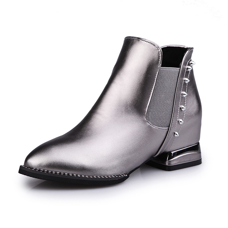 Martin boots new fund 2016 autumn winters  Europe and the female boots pointed rivet elastic short boots shoes thick with trend<br><br>Aliexpress
