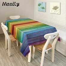 Monily Polyester Rectangle Tablecloths Colorful Rainbow Striped Printed Oilproof Table Cloth Home Banquet Table Cover(China)