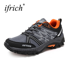 Buy Hot Sell Men Hiking Shoes Walking Shoes Mesh Breathable Mountain Climbing Sneakers Gray Blue Trekking Hiking Shoes Men Trianers for $28.50 in AliExpress store