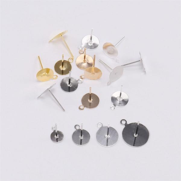 PKR 198.39  31%OFF | 200pcs/lot 6/8/10/12 mm Gold Silver Stud Earring Blank Base Fit Cabochon Cameo Settings Ear Post Earring For DIY Jewelry Making