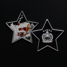 5 pcs/lot Silver Plated Souvenir Token Coins 2018 Happy New Year Merry Christmas Star Coins For Children Boy Girls Kids Gifts(China)