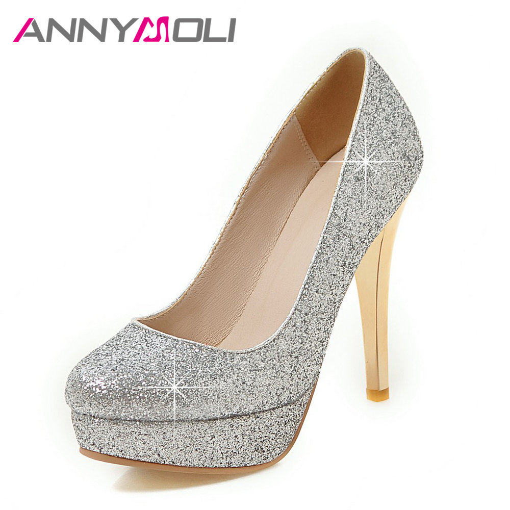 ANNYMOLI Women Pumps Platform Women High Heels 2017 Extreme Thin Heel Women Shoes Silver Crystal Wedding Shoes Plus Size 34-43<br>
