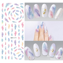 DS271 Design Water Transfer Nails Art Sticker Harajuku Rainbow Feathers Nail Wraps Sticker Watermark Fingernails Decals