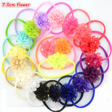 Wholesale 120pcs/lot Summer Style Colorful Elastic Nylon Headband with 7.0cm Gold Polka Dot Chiffon Flower 22 Colors FDA129(China)