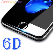 Buy DREAMYSOW high 6D Round Curved Edge Tempered Glass iPhone X 6 6S 7 8 Plus full coverage Screen Protector Film cover for $1.90 in AliExpress store
