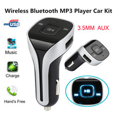 12-24V Handsfree Bluetooth Wireless Car Kit FM Transmitter Radio MP3 Player USB Charger Blue LED digital display(China)