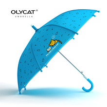 OLYCAT Brand Children Umbrellas Long Handle Windproof Light Weight Cute Cat Style Student Rain Umbrella Colors Quality Paraguas(China)
