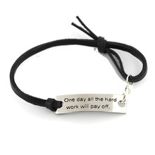 One day all the hard work will pay off Inspirational leather bracelet(China)