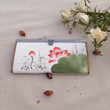 2015 New canvas long wallet Chinese Ethnic style national hand painting lotus Plum purse ladies clutch coin bag