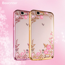 Beworlder For Huawei G7 Case Silicone Rhinestone Transparent Phone Gold Plating Diamond Soft TPU Back Cover For Huawei Ascend G7(China)