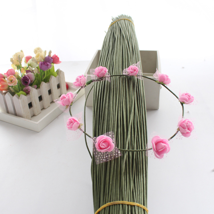 60cm Flower Bar Wire DIY Rosette Soft Iron Wire Rosette Accessories Wire Wreaths Material for Paper Wrapped(China)