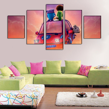 New 5 Piece canvas Art Cartoon Crazy aliens, Home Painting Scenery Decoration for home Oil Print Painting For Kids\J0837