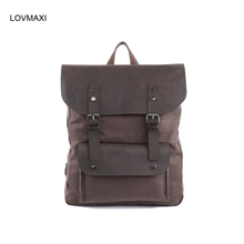 LOVMAXI HOT Men's Canvas BACKPACKS leather causal Vintage large backpack travel bags daily backpacks