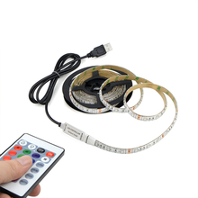 DC 5V USB cable adapter 1m 2m RGB USB LED Strip light IP20 / IP65 Waterproof 3528 SMD IR RGB remote Control background lights