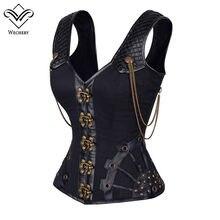Leather bdsm goth 1195 corsett black bondage