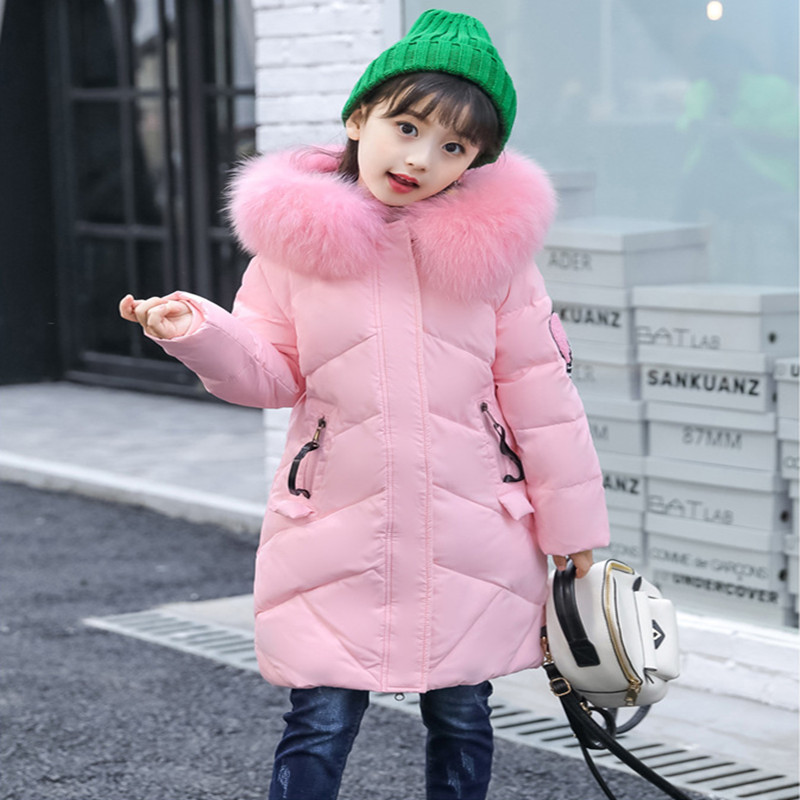 Winter Children Jackets 2017 New Fashion Jacket For Girls Big Fur Collar Long  Thick  Warm Childrens Clothing Down &amp; Parkas<br>