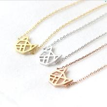 Daisies One Piece Pendant Necklace Handmade Origami Cat Necklace Gold Silver Necklaces For Women Animal Jewelry Collier Femme