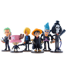6pcs/set One Piece Figure Black Clothing Version Luffy Chopper Brook Roronoa Zoro One Piece Action Toy Figures X266(China)