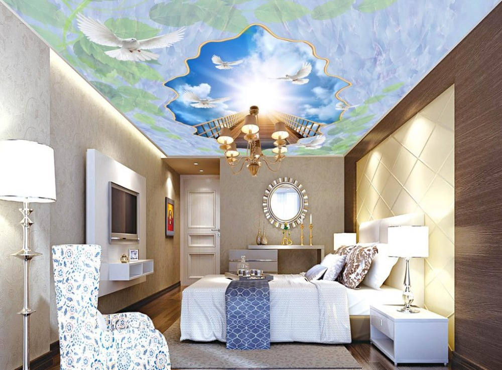 European style 3d Marble Blue Sky Pigeon Wallpaper On The Ceiling For Living room Bedroom Simple Ceiling<br>