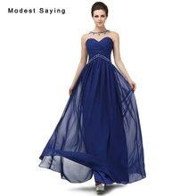 Elegant Royal Blue A-Line Beaded Evening Dresses 2017 Formal Women Engagement  Party Prom Gown vestido longo de festa Custom Made 1c5b736d8fec