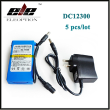 5x Portable DC12300 DC 12V 3000mAh Li-ion Super Rechargeable Battery Pack with Plug + Charger For transmitter CCTV camera