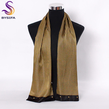[BYSIFA] Men Black Gold Silk Scarves Winter Fashion Accessories 100% Natural Silk Male Plaid Long Scarves Cravat 160*26cm