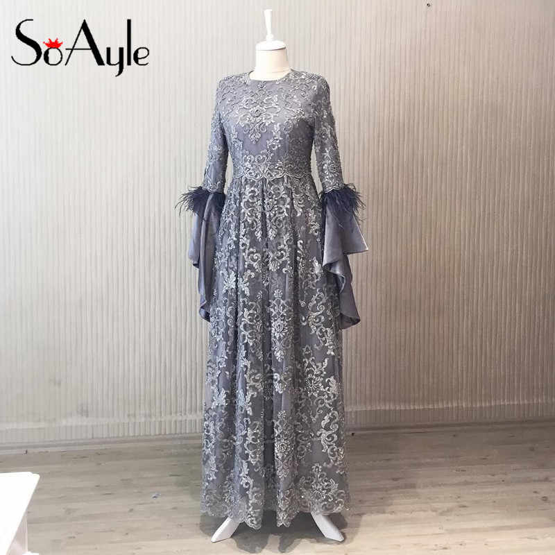 c639c0bce7 Detail Feedback Questions about SoAyle 2018 Mother of Bride Dresses A Line  Long Horn Sleeves Muslim Dubai Lace Beaded Featgers Wedding Guest Dresses  on ...
