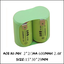 1PCS Original NEW 2*2/3AA 600mAh 1.2V NIMH Rechargeable Battery Pack With Pin For Philips razor shaver AOB NI-MH Batteries