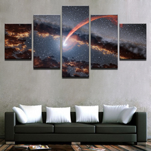 Canvas Painting Home Decor Room Wall Art HD Prints Stars Track Black Holes Pictures 5 Pieces Abstract Glowing Dust Posters Frame(China)