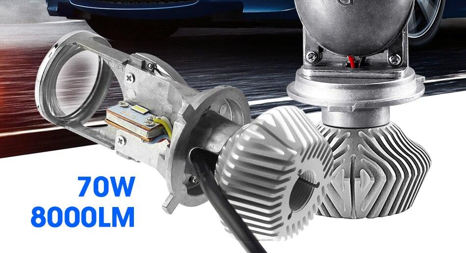 2 hlxg 70WPair H4 LED Mini Projector Lens Automobles LED Bulb LED Conversion Kit Lamp HiLo Beam Headlight 12V24V 5500K White