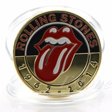 Gold Plated Famous Music Group Rolling Stones Art Collection Commemorative Coin(China)