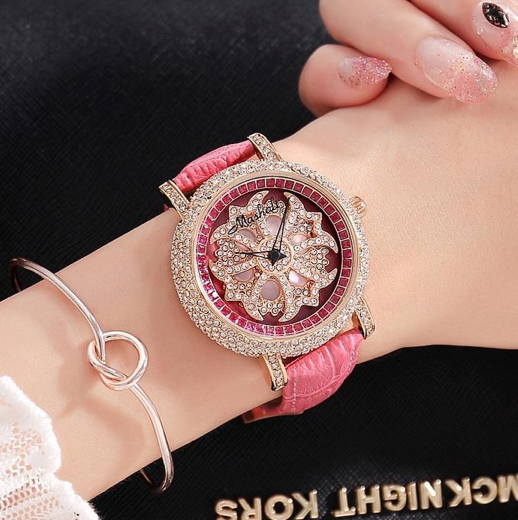 5 Colors Women Real Leather Watches Lady Shining Rotation Dress Watch Big Diamond Stone Wristwatch Lady Genuine Leather Watch<br>
