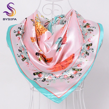 [BYSIFA] Winter French Silk Scarves Neck Scarves 90*90cm Floral Character Pink Blue Women Satin Large Square Scarves