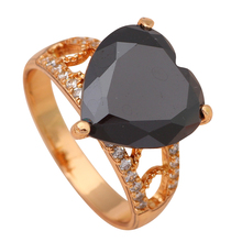 Heart Black Onyx Gold color Fashion Jewelry Nickel & Lead Free K Plating Crystal Rings USA Size #8 #7.5 #7 #6.5 JR1900A(China)