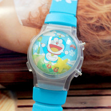 Wholesale 100pcs/lot Hot Sale Cartoon Doraemon Children LED Watches Interesting Boys' Flashing Wristwatches Kid Sports Watches(China)