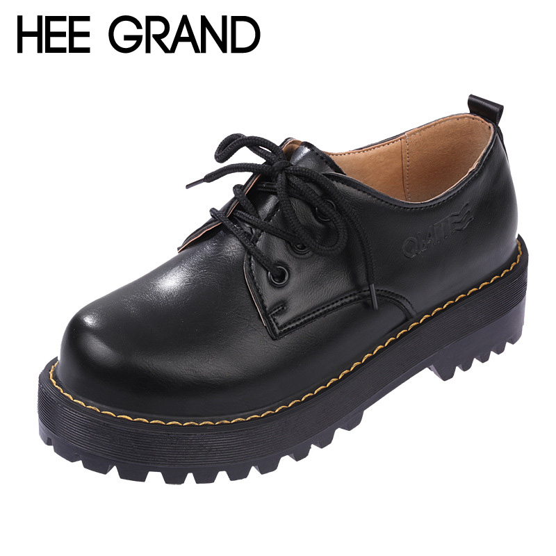 HEE GRAND British Style Women Oxfords Spring Winter Lace-Up Flats Round Toe Creepers Casual Ladies Platform Shoes Woman XWD2534<br><br>Aliexpress