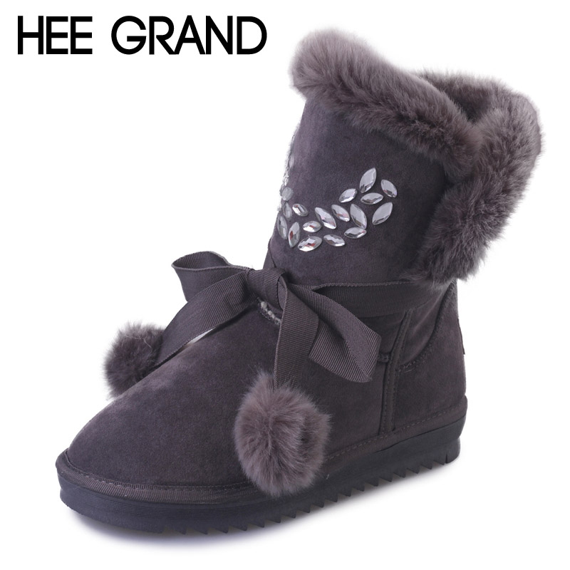 HEE GRAND Winter Women Boots Fur Crystal Mid-Calf Snow Boots Cute Ball Creepers Warm Platform Shoes Woman Slip On Flats XWX5090<br><br>Aliexpress