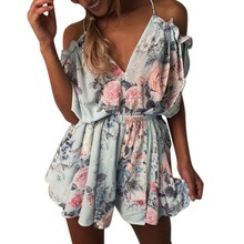 Floral Jumpsuit Women Bandage V-Neck Backless Jumpsuit Loose Romper Summer Lady Shorts Beach Lace Up Coveralls Female Frock(China)