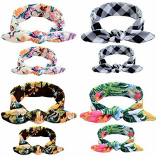 Mother & Girls BowKnot Floral Kids Print Flowers Headwrap Turban Rabbit Ears Headband Adjustable Hair Band Accessories 2Pcs/Set