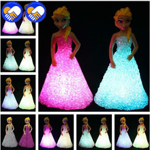 A TOY A DREAM Baby Doll Toys For Girls Anna Elsa Toys Doll Ice Snow Queen 7 LED Color Changing Night Light Lamp Anna Girls Gift