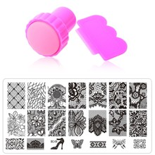 Nail Art Stamping,10Designs 1pcs Stainless Steel Image Plates and Stamper Scraper Set,Konad Nail Stamp Template,Nail Tools(China)