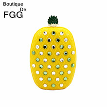 Women Brand Yellow Pineapple Mini Acrylic Bag Shoulder Handbag Clutch Evening Wedding Dinner Hardcase Crystal Bag Clutches Purse