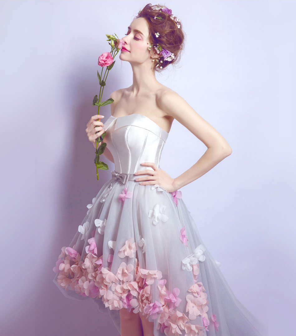 white flowers high-low graduation-dresses-for-high-school