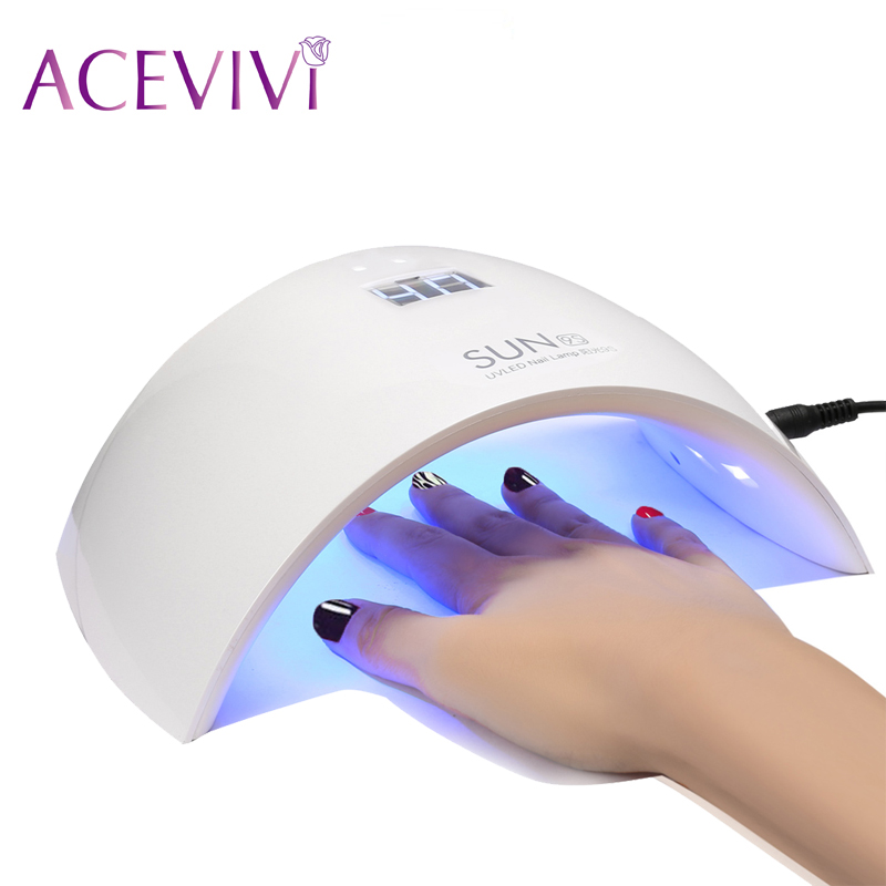 ACEVIVI 24W UV Led Lamp SUN9S 24W Nail Dryer Lamp Nail For Gel Polish Curing Nail Drying Time control Dual Use 15 UV Lamp<br>