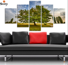 5pcs Wall Art setting sun Sunshine HD Picture Home Decoration Canvas Print Green Tree Grassland Scenery Paintings A123 no framed