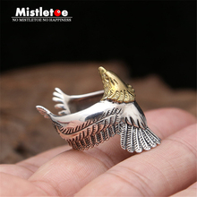 Genuine 100% 925 Sterling Silver Vintage Punk Locomotive Indian Eagle Ring For Women Men Fashion Jewelry