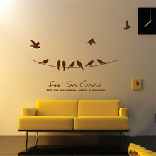 Feel So Good, Love and Patience with Birds on a Wire, Wall Decals Quotes Vinyl Wall Sticker Design Wall Decorations Living Room