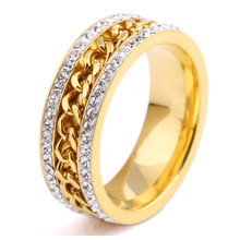 2 Row Crystal Jewelry Wholesale Gold Color Stainless Steel Chain Wedding Rings for women