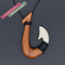 Free Shipping 1PC Hawaii Style Handmade Carved Ox Bone & Koa Wood FISHHOOK Pendant Womens man's Necklace Fashion Surfer Choker(China)